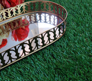 Metal Mirror Oval Tray - View 1