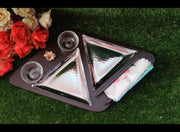 Burfi Double Triangle Platter With Tissue Holder