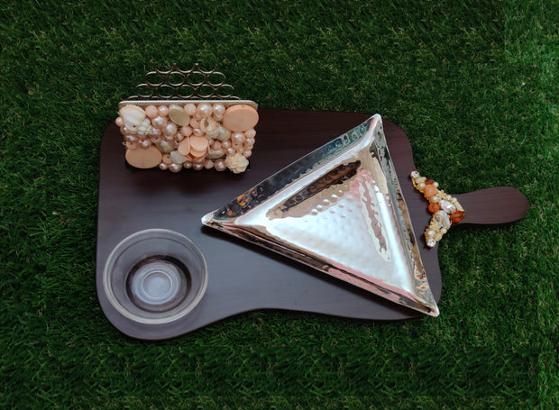 Wooden - Triangle Platter With Tissue Holder