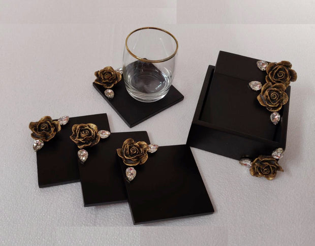Wooden- Rose Coasters Set of 6 with Holder