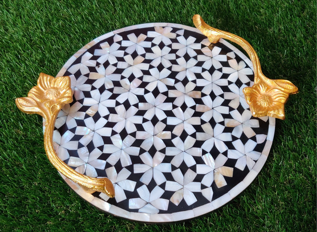 "Mother Of Pearl Round Tray with Beautiful Floral Handles (12"")"