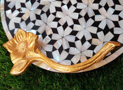 "Mother Of Pearl Round Tray with Beautiful Floral Handles (12"") - View 1"