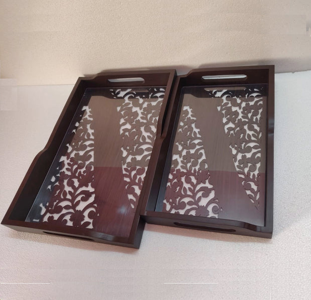 Wooden Cutwork Tray Set of 2 with Acrylic Top