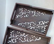 Wooden Cutwork Tray Set of 2 with Acrylic Top - View 1