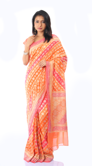SIGNORAA MULTICOLOUR BANARASI GEORGETTE SILK SAREE-CHG02958 - VIEW 1