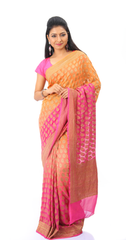 SIGNORAA MULTICOLOUR BANARASI GEORGETTE SILK SAREE-CHG02955 - VIEW 1