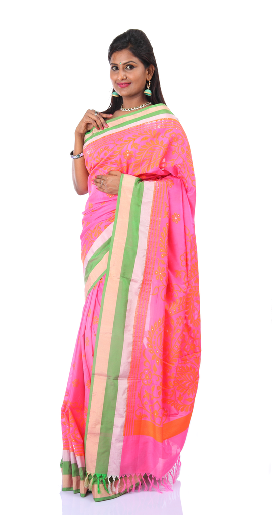 7fbfd934c32315 Silk Georgette Pink Banaras Badla Saree By Signoraa – Signoraa.in