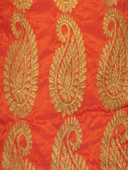 Signoraa Orange Semi Raw Silk Unstitched Fabric -PMT05057