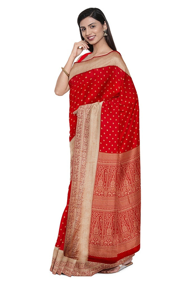 SIGNORAA RED KANCHIPURAM SILK SAREE-KSL02644- Cover View