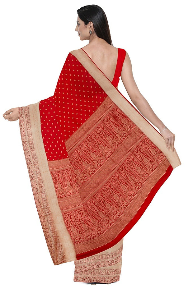 SIGNORAA RED KANCHIPURAM SILK SAREE-KSL02644- Fabric View