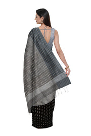 SIGNORAA GREY AND BLACK ORGANZA TISSUE SAREE-PTS04580- Model View 2