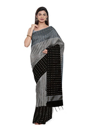 SIGNORAA GREY AND BLACK ORGANZA TISSUE SAREE-PTS04580- Model View