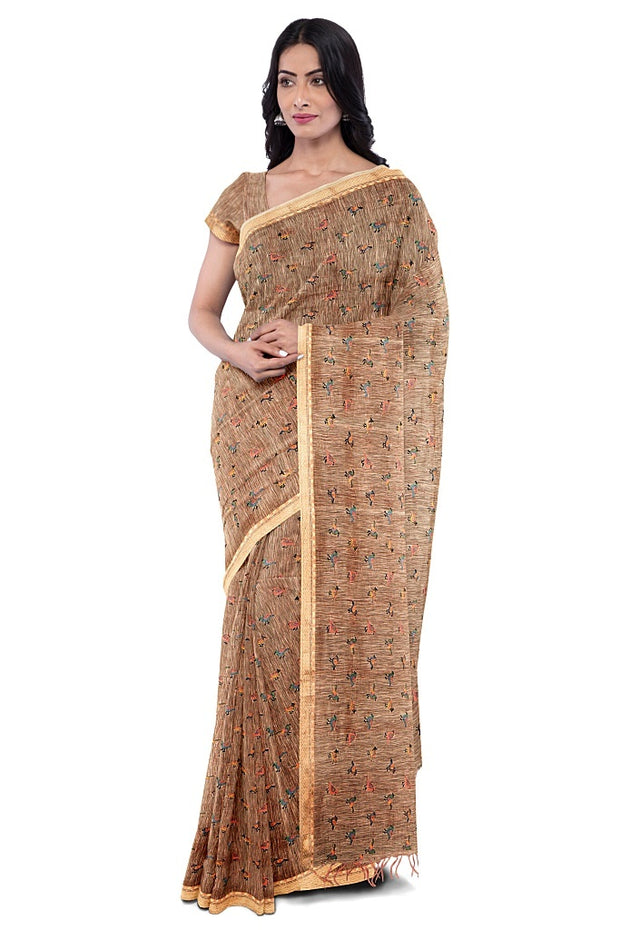 SIGNORAA PEACH LINEN TUSSAR SAREE-EMB03030- Model View 1