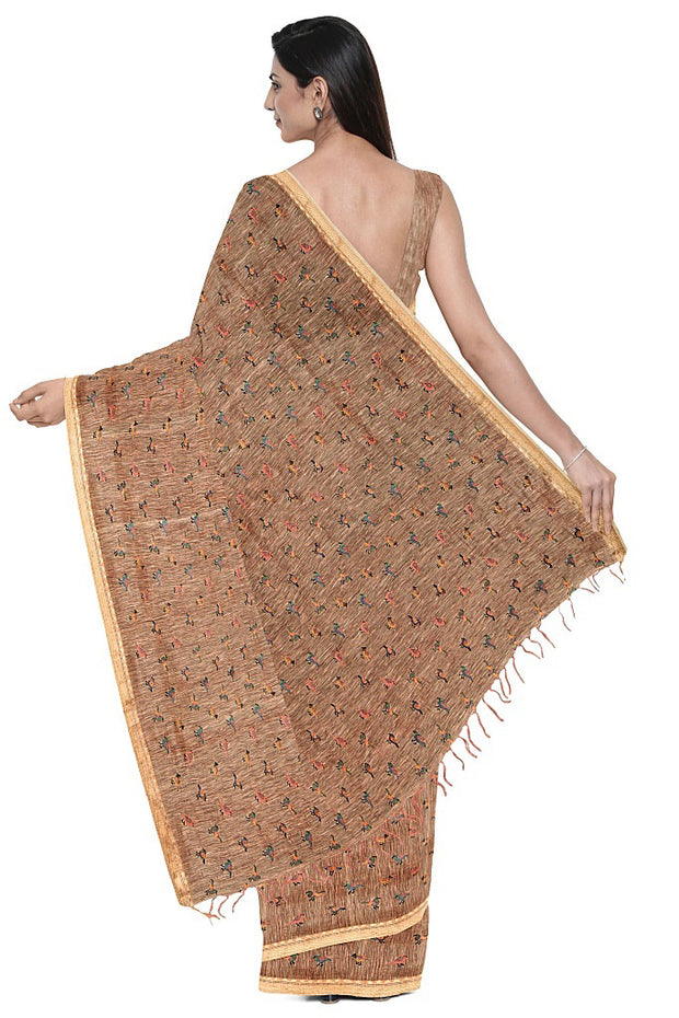 SIGNORAA PEACH LINEN TUSSAR SAREE-EMB03030- Model View 2