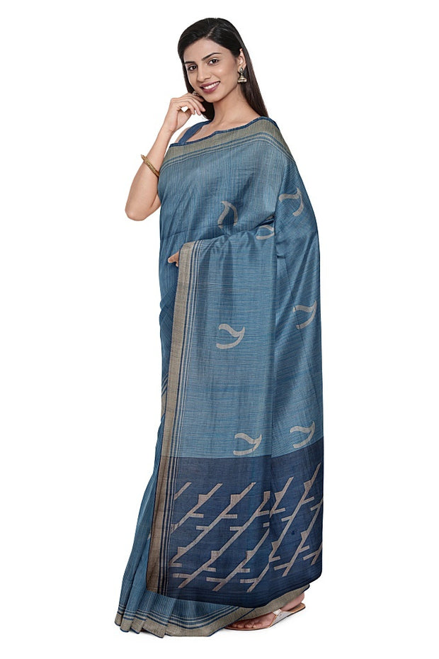 SIGNORAA NAVY BLUE SILK COTTON SAREE-CCC01654- Model View