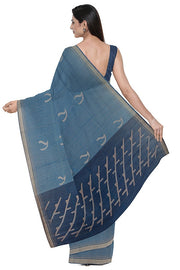 SIGNORAA NAVY BLUE SILK COTTON SAREE-CCC01654- Model View 2