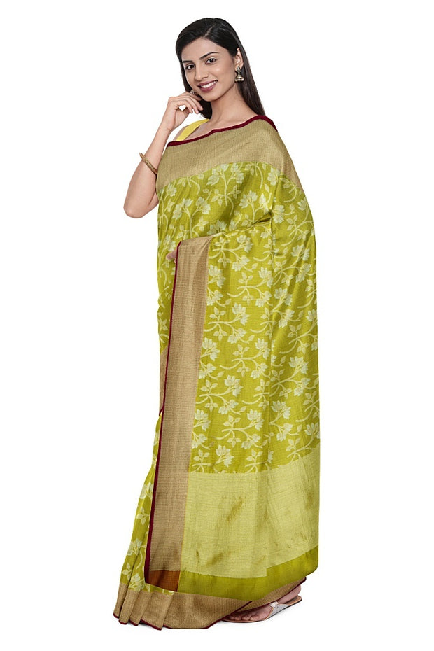 SIGNORAA PISTA GREEN BANARASI KOTA KANCHIPURAM SILK SAREE-KSL02653- Model View