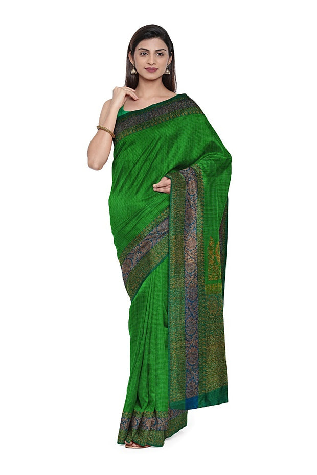SIGNORAA GREEN BANARASI TUSSAR SAREE-BSK08155- Model View 1
