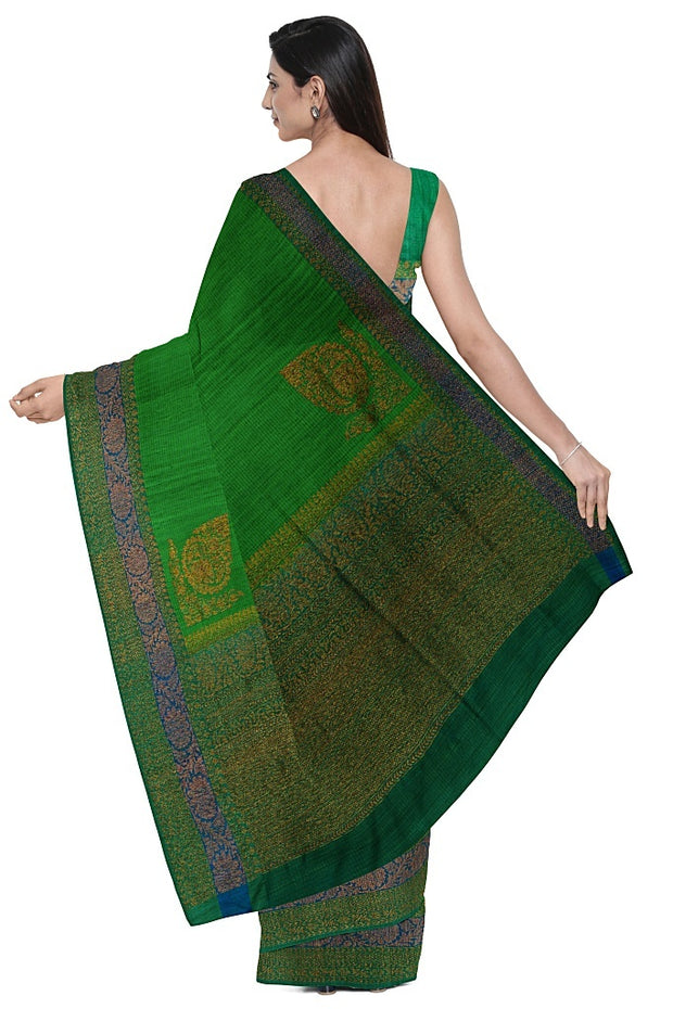 SIGNORAA GREEN BANARASI TUSSAR SAREE-BSK08155- Model View 2