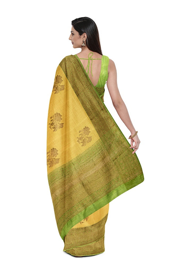 SIGNORAA LIGHT GREEN BANARASI TUSSAR SILK SAREE-BSK08402- Model View 2