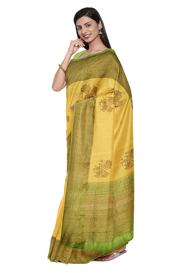 SIGNORAA LIGHT GREEN BANARASI TUSSAR SILK SAREE-BSK08402- Model View 1