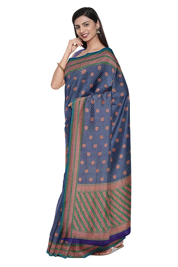 SIGNORAA NAVY BLUE BANARASI COTTON SAREE-BSK07060- Model View 1