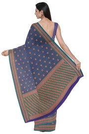 SIGNORAA NAVY BLUE BANARASI COTTON SAREE-BSK07060- Model View 2