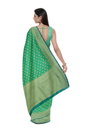 SIGNORAA GREEN BANARASI SILK COTTON SAREE-BSK08306A- Model View 2