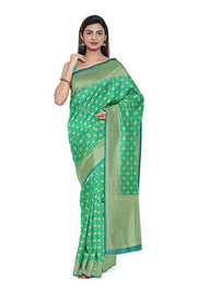 SIGNORAA GREEN BANARASI SILK COTTON SAREE-BSK08306A- Model View