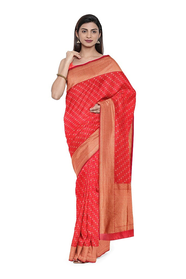 SIGNORAA RED BANARASI SILK COTTON SAREE-BSK08306- Model View 1