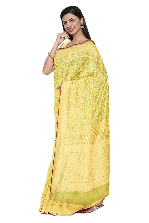 SIGNORAA GREEN BANARASI SILK COTTON SAREE-BSK08291- Model View