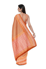 SIGNORAA PEACH BANARASI KHADDI GEORGETTE SAREE-CHG03543- MODEL 2