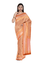 SIGNORAA PEACH BANARASI KHADDI GEORGETTE SAREE-CHG03543- MODEL1