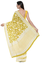 SIGNORAA YELLOW TUSSAR GEORGETTE BANARASI SAREE-CHG03646- MODEL 2