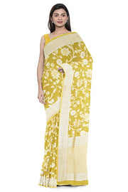 SIGNORAA YELLOW TUSSAR GEORGETTE BANARASI SAREE-CHG03646- MODEL 1