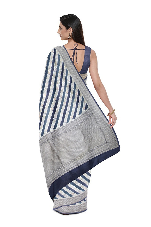 SIGNORAA GREY BANARASI KHADDI GEORGETTE SAREE-CHG03662 - MODEL VIEW 2