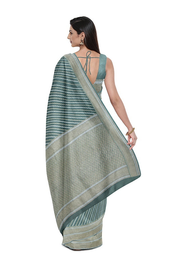 SIGNORAA SEA GREEN BANARASI KHADDI GEORGETTE SAREE-CHG03665- Model View 2