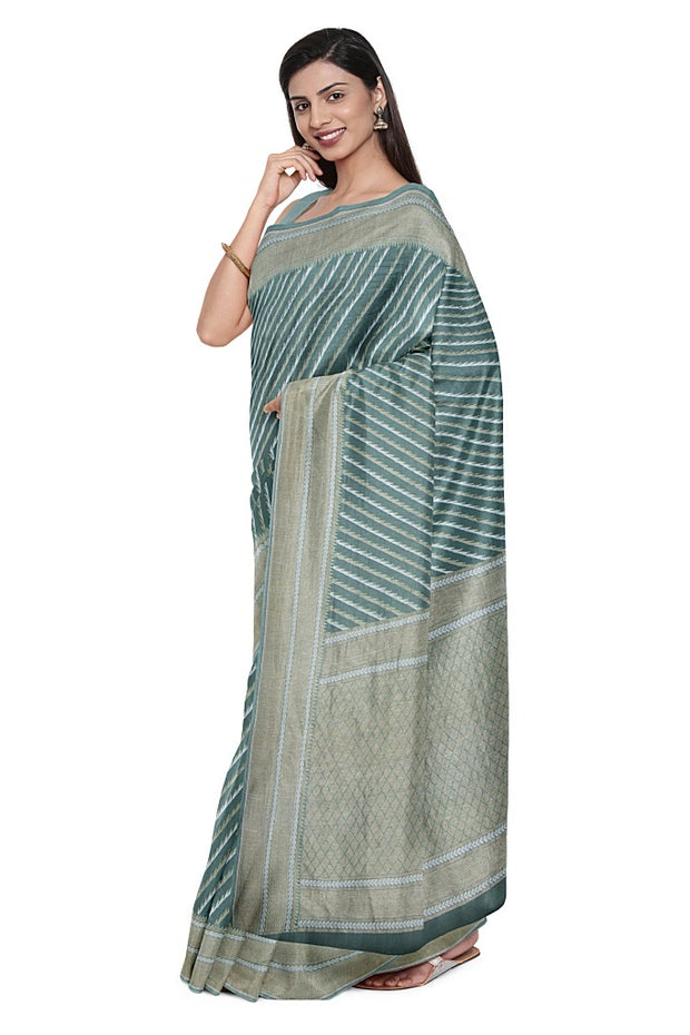 SIGNORAA SEA GREEN BANARASI KHADDI GEORGETTE SAREE-CHG03665- Model View 1