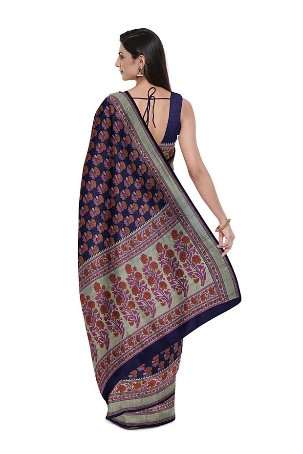SIGNORAA NAVY BLUE TUSSAR GEORGETTE BANARASI SAREE-CHG03676- MODEL 2