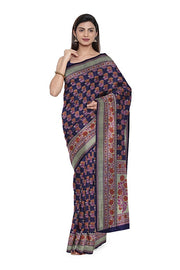 SIGNORAA NAVY BLUE TUSSAR GEORGETTE BANARASI SAREE-CHG03676- Model View 1