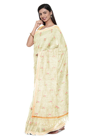 SIGNORAA BEIGE LINEN TUSSAR SAREE-EMB02996- Model View 1