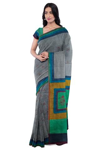 SIGNORAA BEIGE TUSSAR SILK SAREE-EMB03008- MODEL VIEW 1