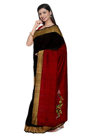 SIGNORAA BLACK RAW SILK SAREE-EMB02757- Model View 1