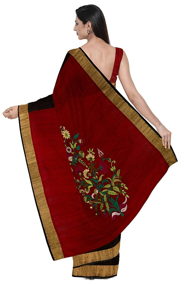 SIGNORAA BLACK RAW SILK SAREE-EMB02757 - Model View 2