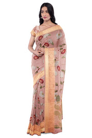 SIGNORAA BABY PINK ORGANZA SAREE-FCT09505- Model View 1