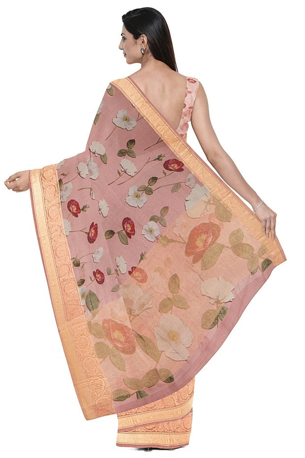 SIGNORAA BABY PINK ORGANZA SAREE-FCT09505- Model View 2
