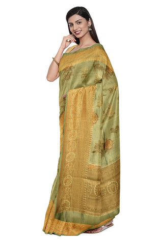 SIGNORAA DULL GREEN ORGANZA TISSUE SAREE-FCT9506- Model View 1
