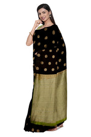 SIGNORAA BLACK KANCHIPURAM SILK SAREE-KSL02478- Model View 1