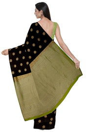 SIGNORAA BLACK KANCHIPURAM SILK SAREE-KSL02478- Model View 2