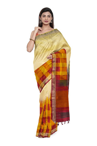 SIGNORAA CREAM KANCHIPURAM SILK SAREE-KSL02509- Model View 1
